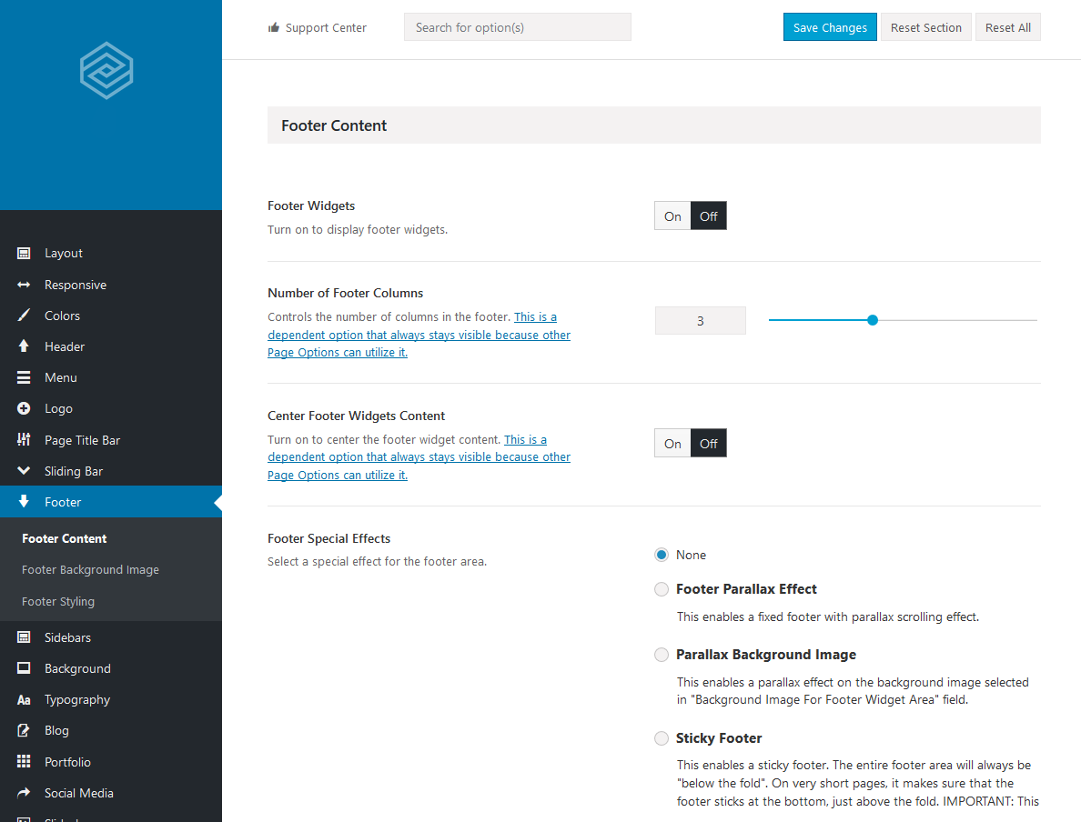 Avada Theme - Option (Footer)