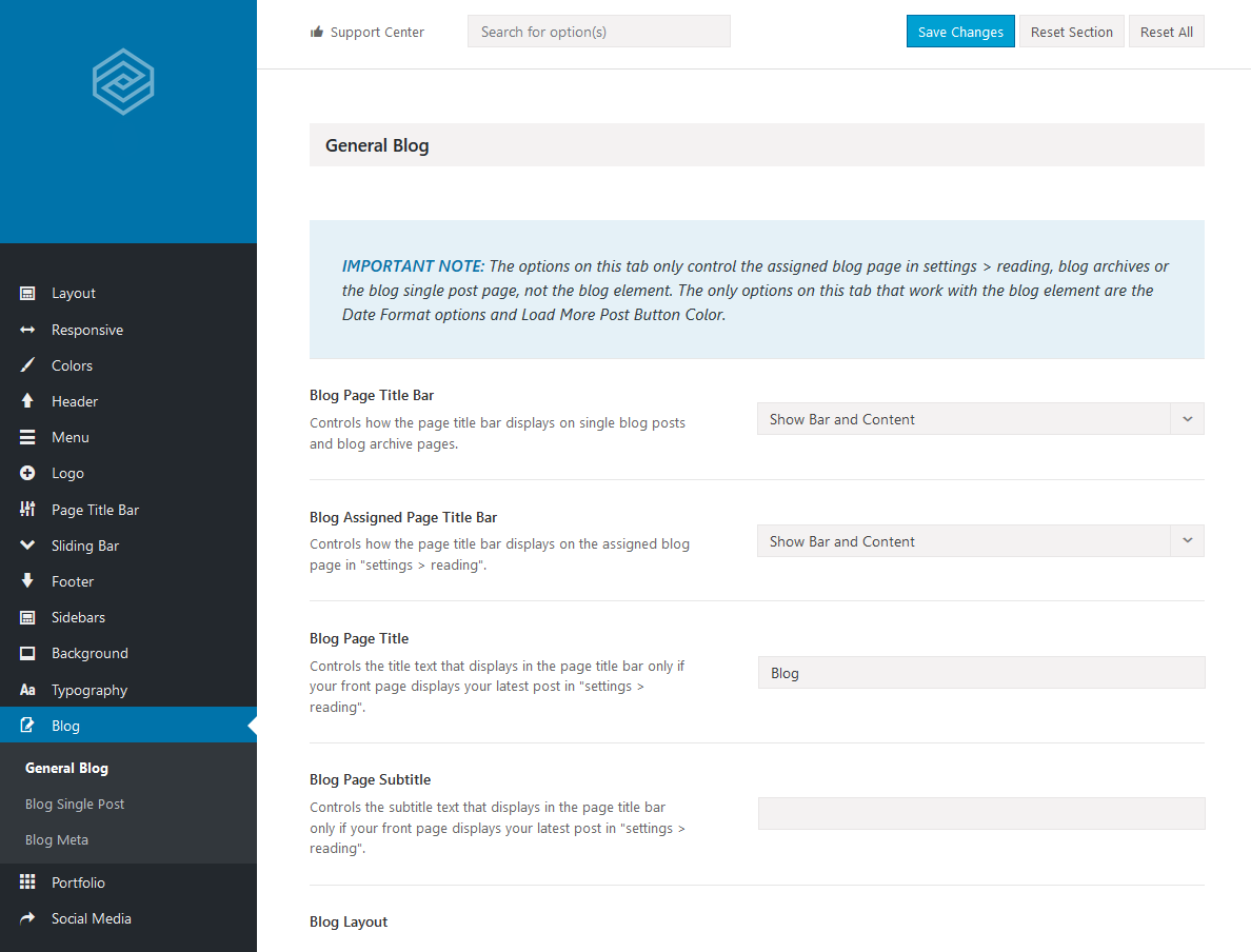 Avada Theme - Option (Blog)