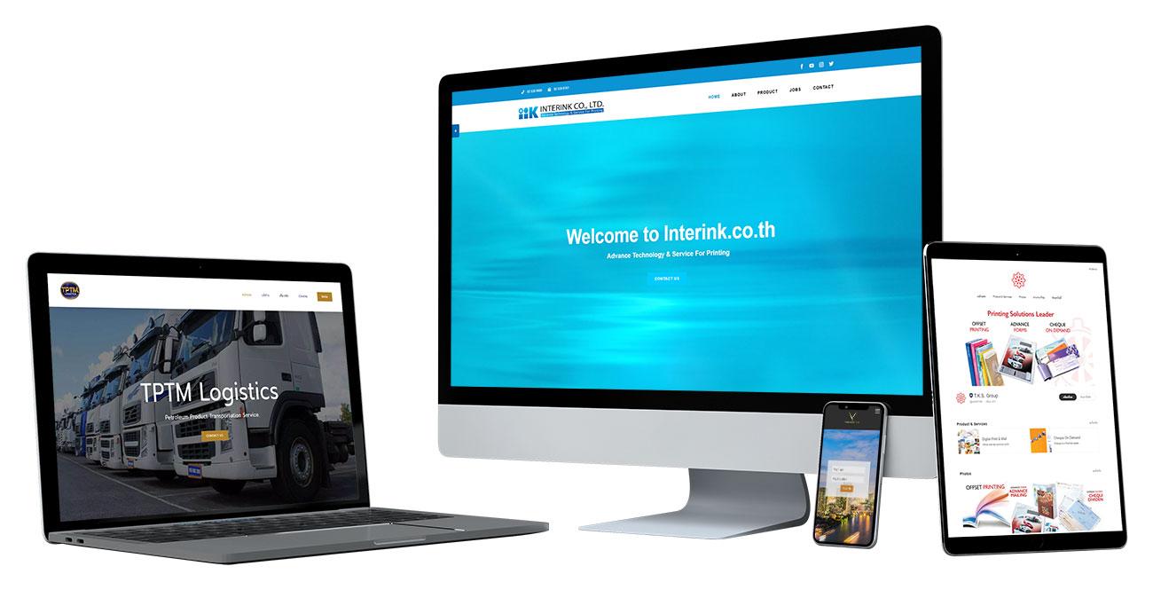 อุปกรณ์ไอทีแสดงผลเว็บไซต์ของลูกค้าที่ใช้บริการ รับทําเว็บไซต์ กับเรา