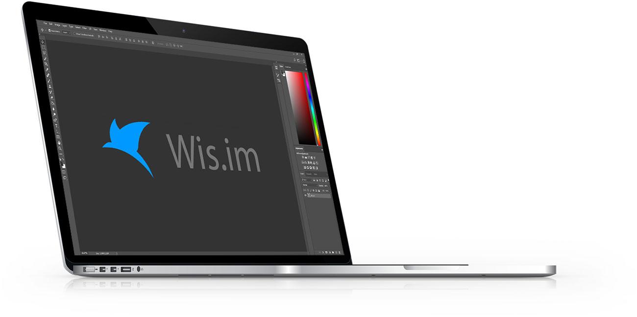 โน๊ตบุ๊คแสดงผล Wis.im Logo (โลโก้ทีม รับจ้างทำเว็บ)